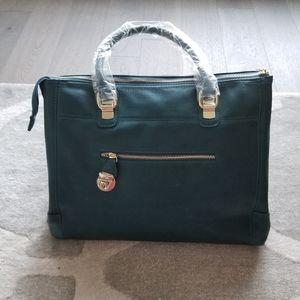 BNWOT Dark teal tote bag with gold details